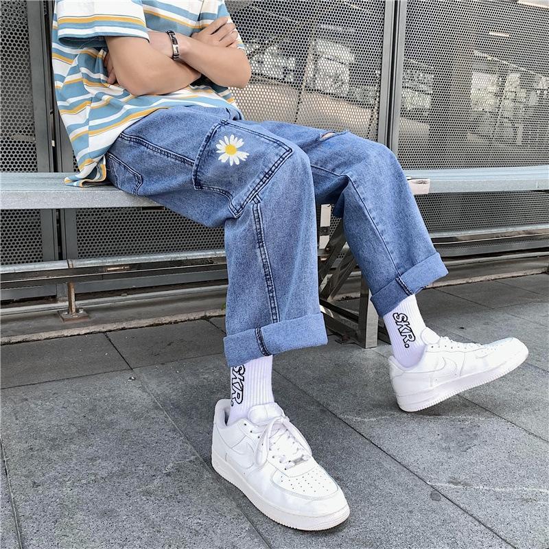 ZHi50 2020 nouveau mini Daisy jeans trou jeanstrousers et jeansjeans waistslim fashionstraight tubeloose le haut des hommes et des jambes pantalon large papa
