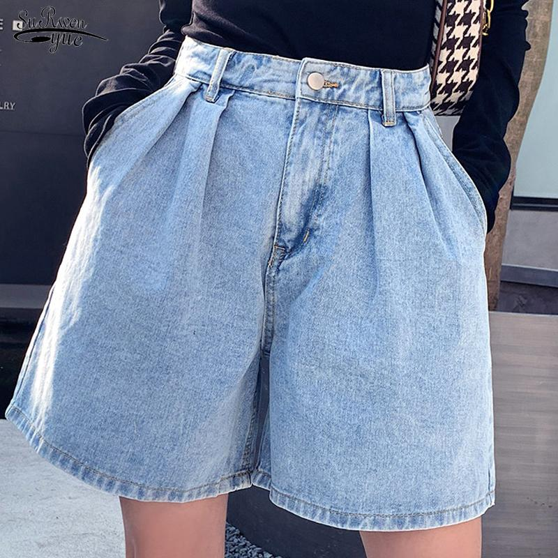 2020 Pantaloncini estate delle donne Vintage vita alta blu a gamba larga pantaloncini di jeans donna Plus Size Femme denim pantaloncini corti delle donne 9001 50 C1111