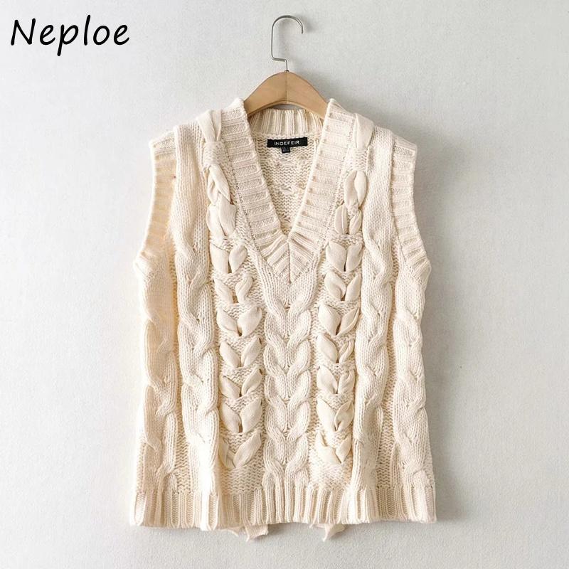 NEPLOE MODE NOUVEAU Patchwork Solide Top Vest All-Match V-cou tricoté Femmes Twist Couleur 2021 Sweaters de réservoir sans manches 1H844 KLHQB