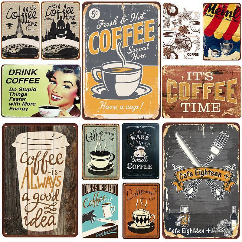 2021 Funny Cafe Plaque Métal Vintage Tin Signe Pin up Shabby Chic Décor Signes Metal Signes Vintage Bar Décoration Poster Métal Plaque Plaque