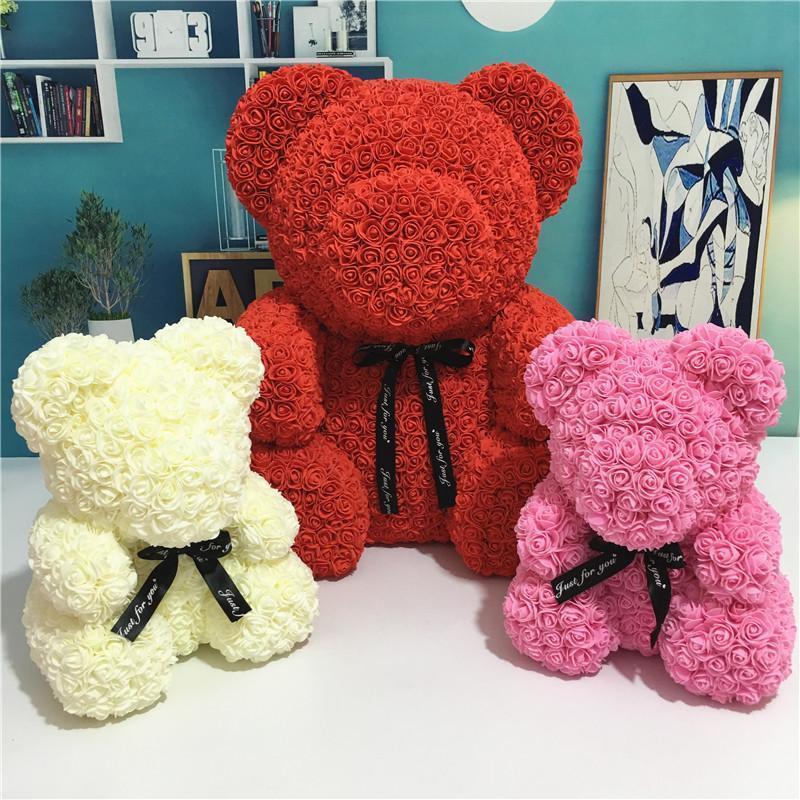 Livraison rapide PE Plastique Fleurs artificielles Rose Bear Foam Rose Fleur Teddy Ours Valentines Cadeau cadeau cadeau d'anniversaire fête de printemps décoration