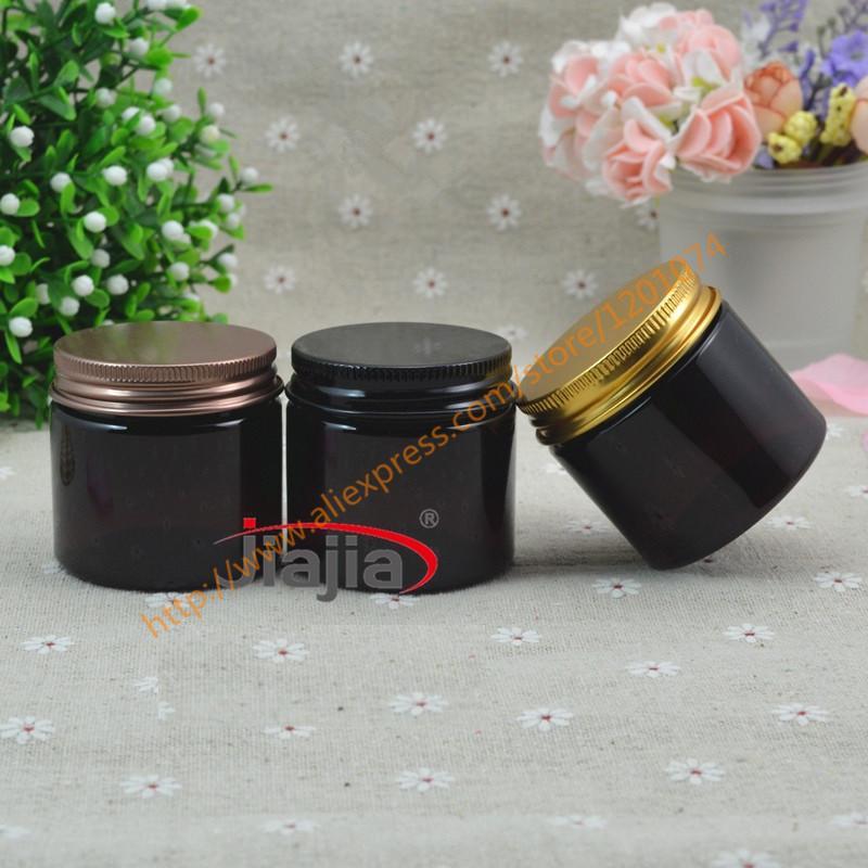 50 grammi marrone Jar PET, 50ml nero / bronzo / oro Alulminum Cap, PET vaso crema compongono Vuoto vasi cosmetici 50G plastica Vasi
