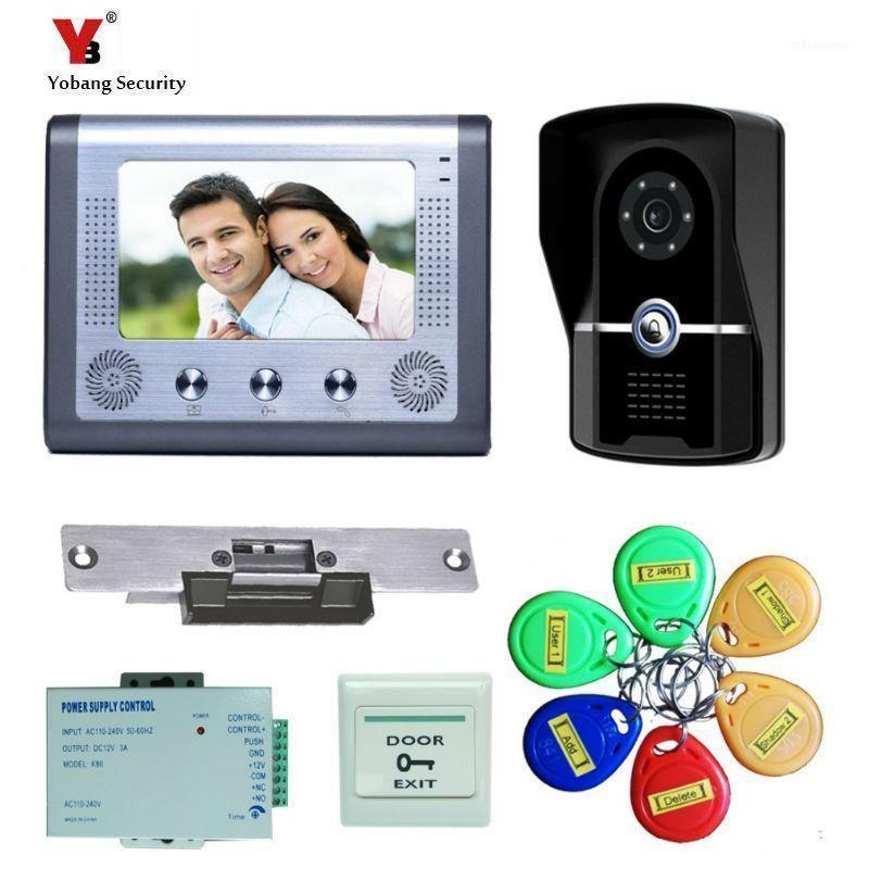 """Видео Дверные телефоны Yobang Security 7 """"Домофон Телефон с читательным дверным звонком Водонепроницаемый камерой Апартаменты Apartment Intercom1"""
