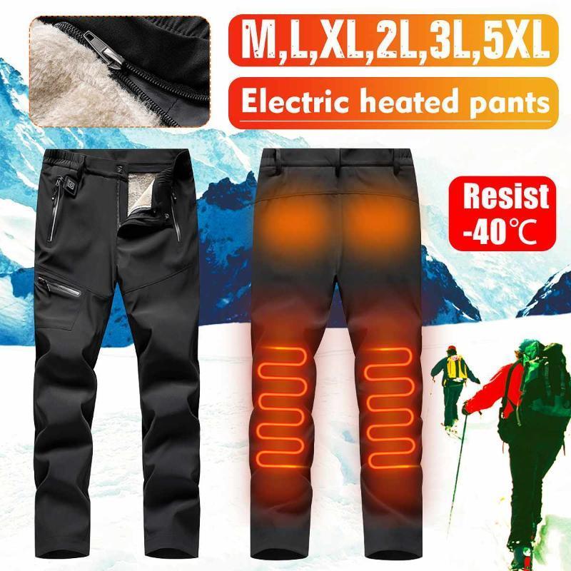 Hombres Mujeres USB Calefacción eléctrica Invierno Plus USB Pantalón cálido con calefacción inteligente Velvet Pantalón de rodilla caliente Pantalón para deporte al aire libre