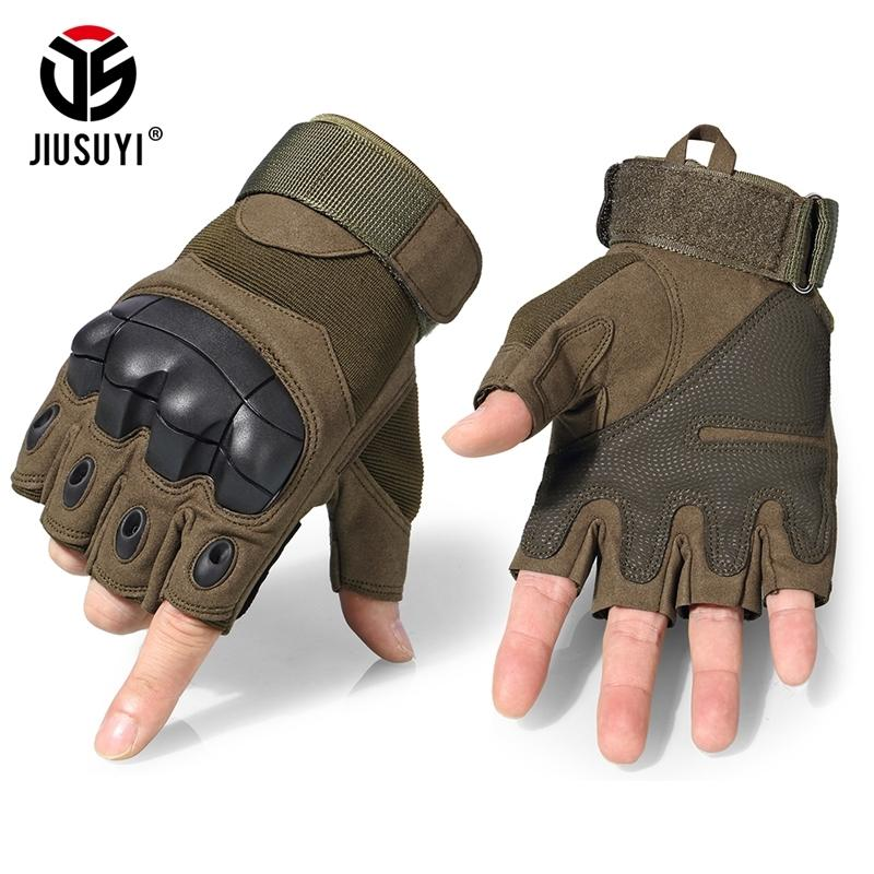 Guantes tácticos Ejército militar Combate sin dedos Airsoft Disparo Paintball Engranaje de bicicleta Hard Carbon Knuckle Medio dedo Guantes Y200110