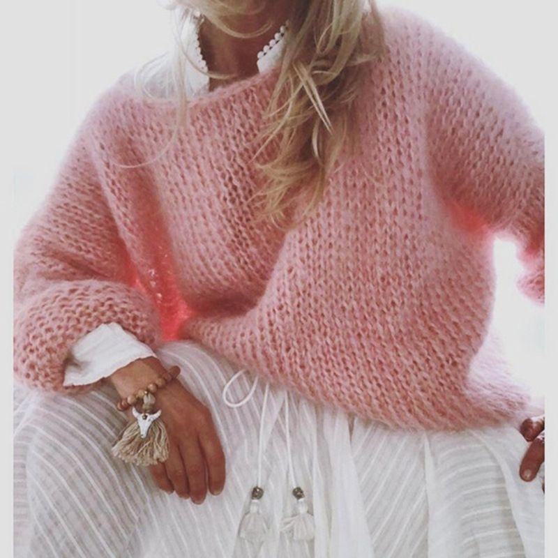 Herbst gestrickten Pullover Langarm Top Pullover Frauen-Winter-Pullover Feste O Ansatz Kleidung der Frauen für Damen 201026