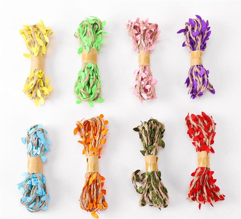 Decor Nuovo Festive 5M fai da te di arrivo Foglia corda naturale della tela di iuta iuta Spago corda della tela del nastro del mestiere di DIY Vintage Per la casa da festa di nozze