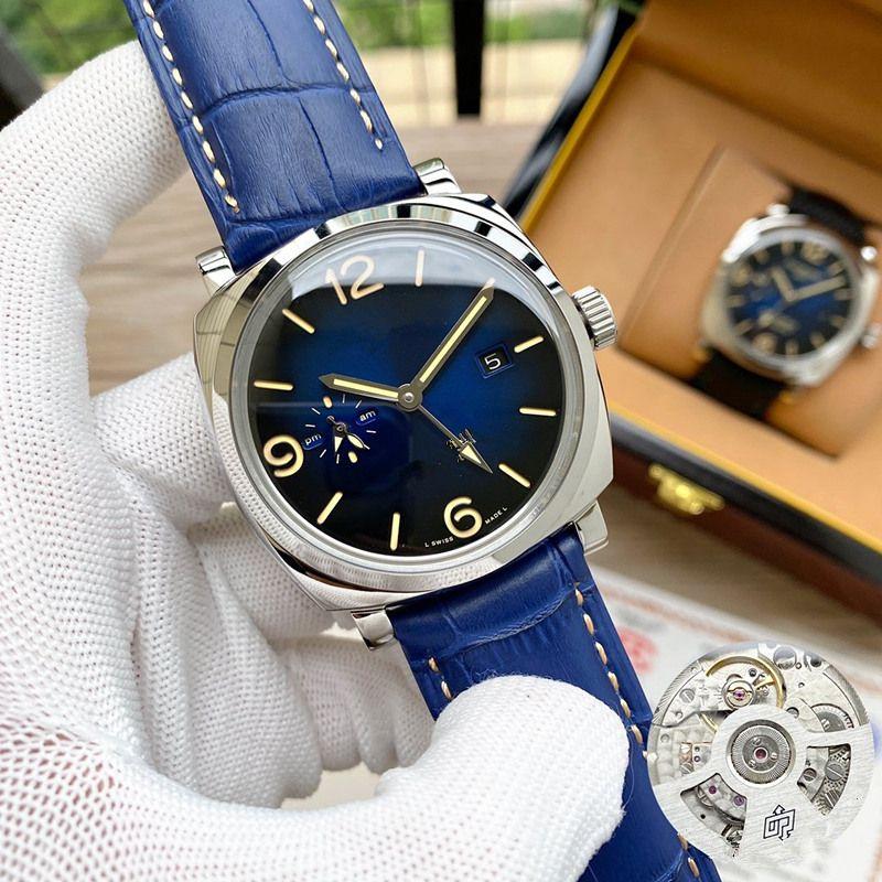 45 milímetros PAM Couro Relógios aço inoxidável 316L para cores Man cor azul automáticos impermeáveis Relógios de pulso 2020 novo design 22