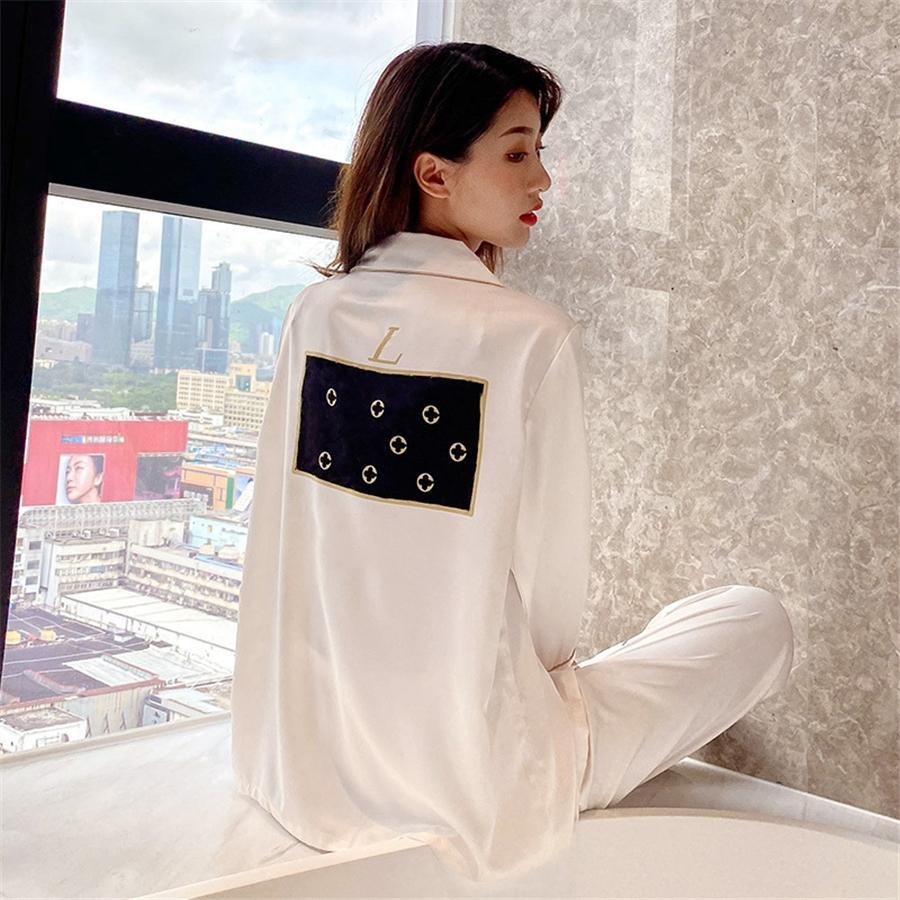 SOI I Pyjamas Silk 2021 Nouveaux vêtements de nuit Hiver Wink Wite Longues Silk Silk Silk Mens Ome Pyjamas Couples # 134 # 76000000