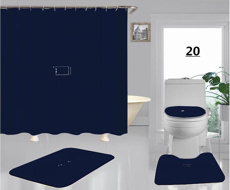 Pequenos Marcas Vermelhas Impressão Branca Deve Banho Cortinas Conjuntos Hipster High-Grade Quatro Peça Terno Banheiro Anti-Peeping Bath Tapetes Frete Grátis