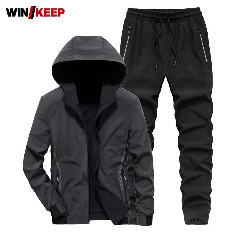 Homens esportes homens primavera outono jaqueta de secagem rápida calças de manga comprida estilo coreano zíper com capuz moda casual de duas peças conjuntos