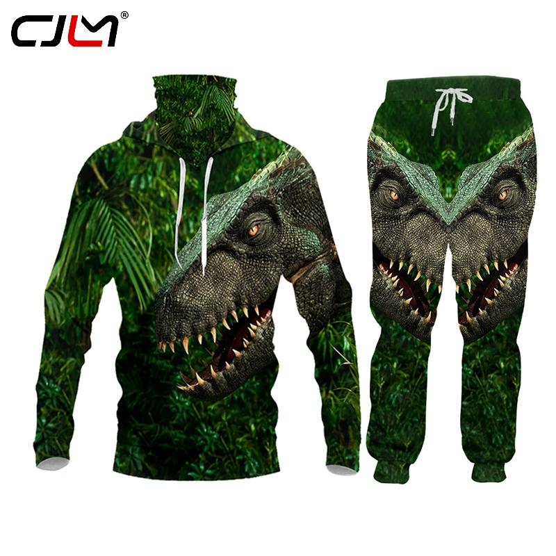 CJLM Marka 3D Anime Orman Dinozor Erkek Trasuit Jaet Hoodie Sweatpants Koşucular Harajuku Suit Set Kazak Artı boyutu