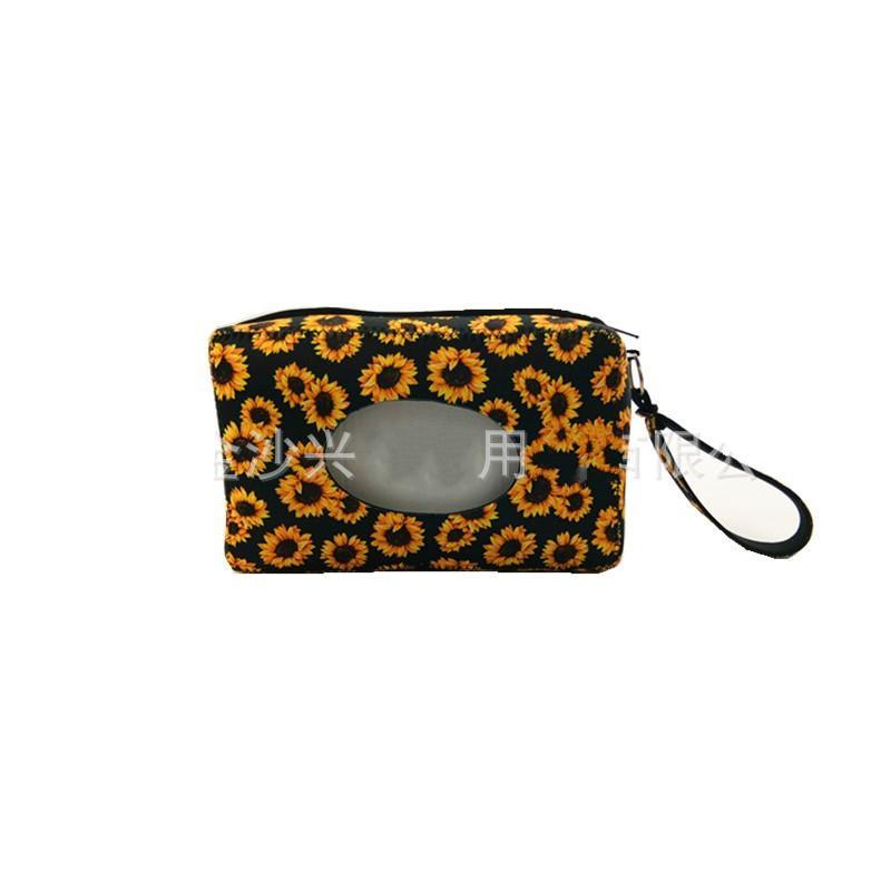 Caja de tejido para niños Viajes de neopreno Toallitas húmedas Cajas de girasol Leopardo Imprimir Estilos de copo de nieve Papel Bolsa de toalla para la pared colgante Durable 8 5SX E1