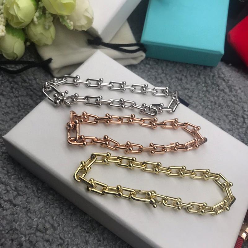 2020 nouvelles femmes Bracelet argent 925 Bracelets européens et américains de verrouillage de la chaîne en forme de U d'épaisseur Bracelet vent froid Bracelet