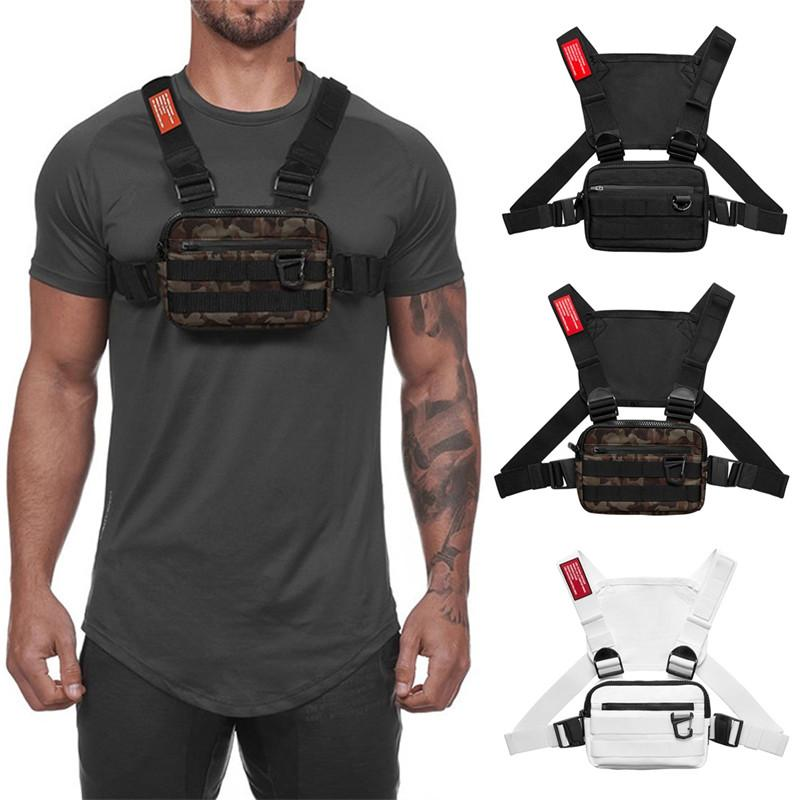 1pcs Men Tactical waist bag With Reflective strap Functional Chest Rig pack Adjustable Vest