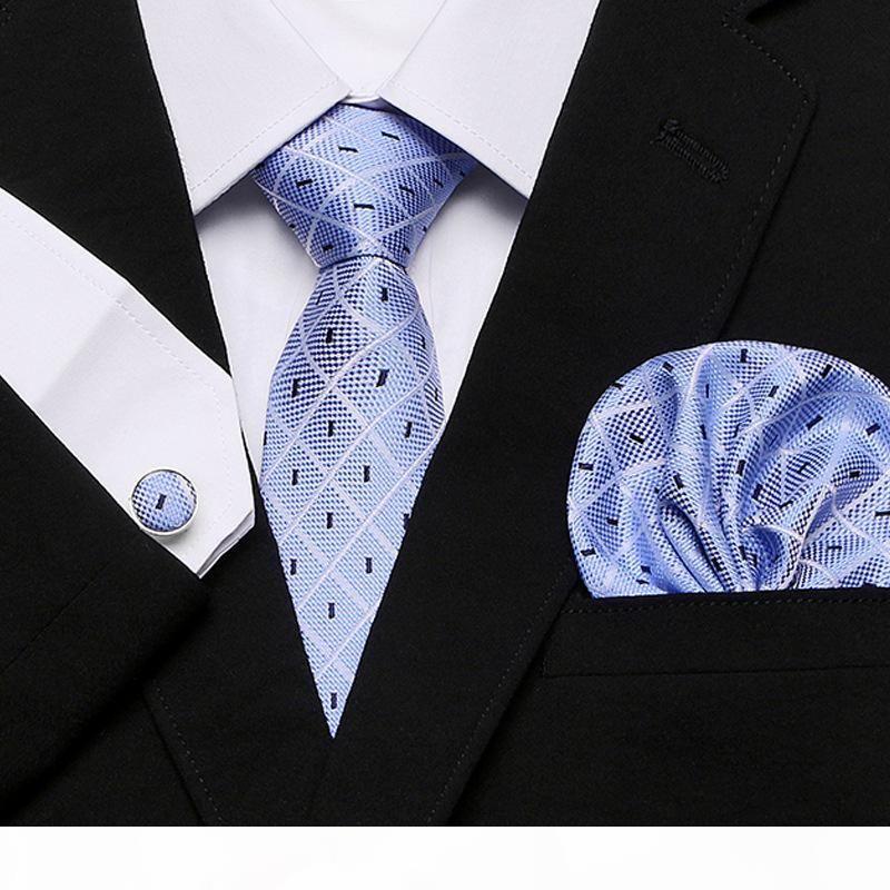 Männer `s Krawatte 100% Seide rote Plaid Print Jacquard gewebt Krawatte + Hanky + Manschettenknöpfe Sets für formale Hochzeits-Business-Party Kostenloses Porto