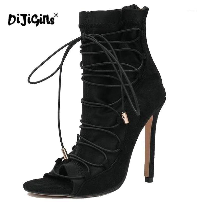 Dijigirls 2021 bombas de mujer caliente Peep Toe Lace Up High Heels Zapatos Mujer Cross-athed Then Tael Party Shoes Sapatos Dropshipping1