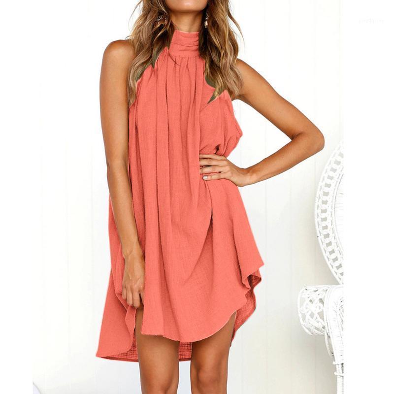 Robe de vacances en femme irrégulière Mesdames Summer Beach Sans Manches Dress Dames Jurken Bohemia Femmes Robes Sommerkleid1