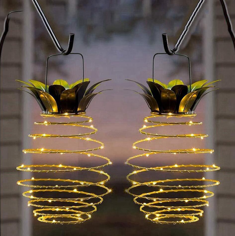 مصابيح الأناناس أضواء الشمسية الوترية المعلقة للماء الخفيفة للطاقة الشمسية حديقة ممشى التخييم والتعامل مع عيد الميلاد الديكور حزب LJJP629