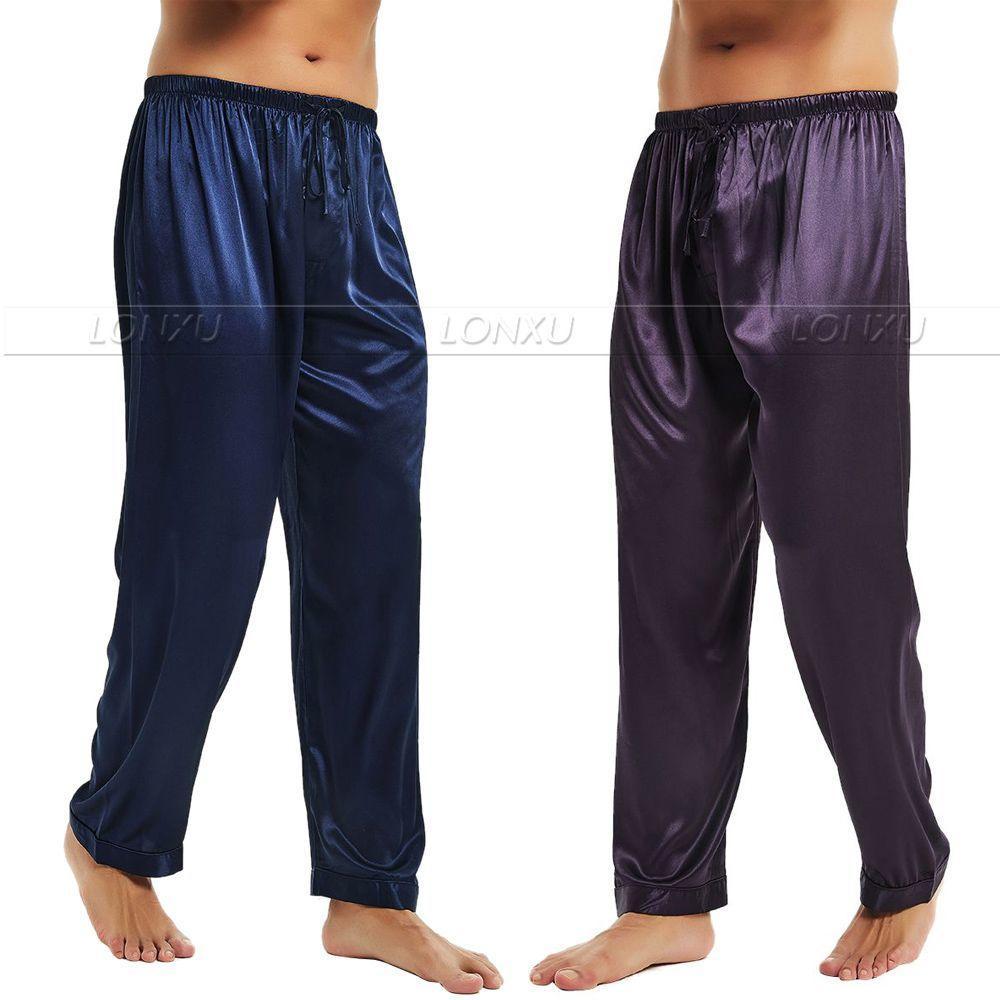 Mens raso di seta Pigiama Pigiama Pantaloni Lounge pantaloni sonno Pantaloni di trasporto S M L XL 2XL 3XL 4XL Inoltre 201109