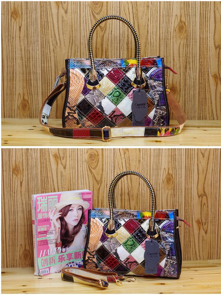 Moda Flores Costura Saco De Couro Fashion Moda Casual Colorido Em Messenger Feminino Baghot Cowhide New Selling Handbags Bolsa QFTG
