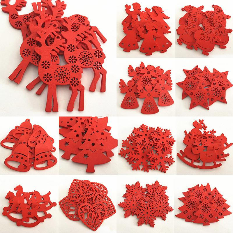 10Pcs Wood with 2M Rope Red White Christmas Tree Pendant Hanging Ornament Deer Snowflake Xmas Party Decor Home Decoration