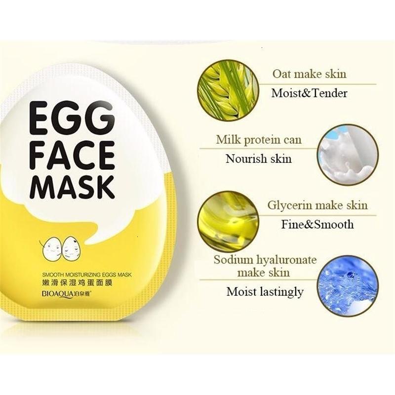 Máscaras de aceite facial de huevo Iluminación Control envuelto BioAqua Face Care Cuidado de la piel Hidratante MasterOutletT9E2