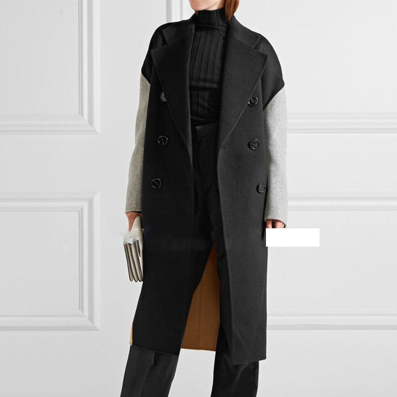 LANMREM autumn autumn Fashion New Women Plus Large Block Color Matching Lapel Double-breasted Cashmere Coat TC818 201016