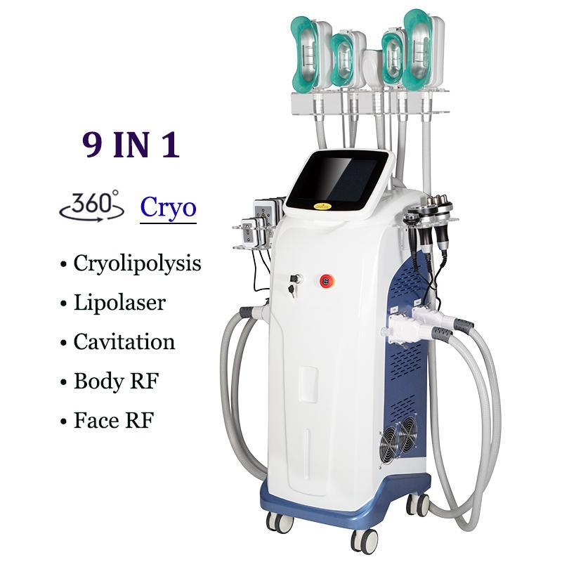 Profession Cryolipolyse Minceur Cryo Machine 4 poignées de réduction de la graisse Perte de poids 8 en 1 Laser Lipo Cavitation Liposuccion Dispositif de retrait de cellulite