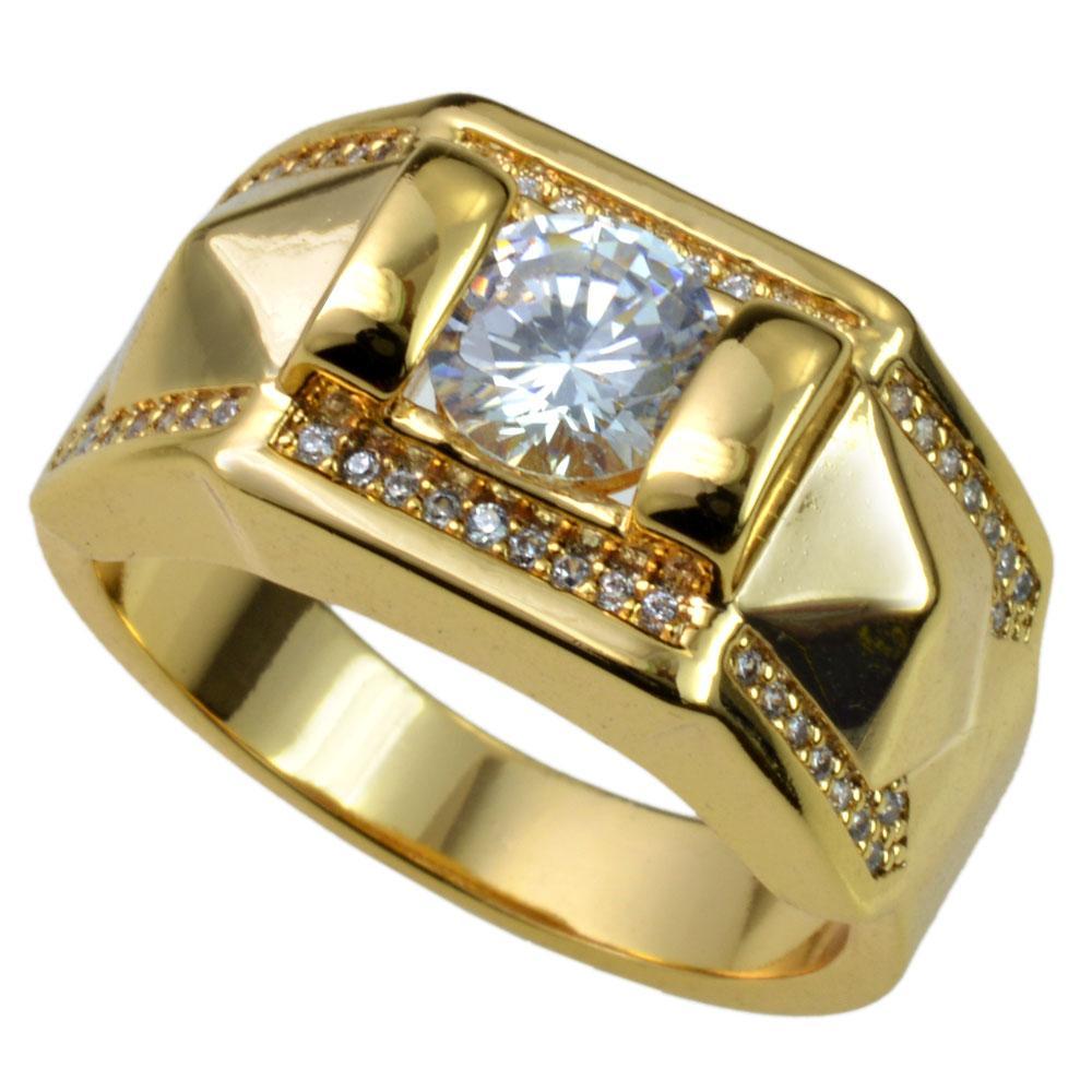 Neue Männer 18k Gold füllte österreichischen Kristallen Größe 8-15 Ring Schmuck r245