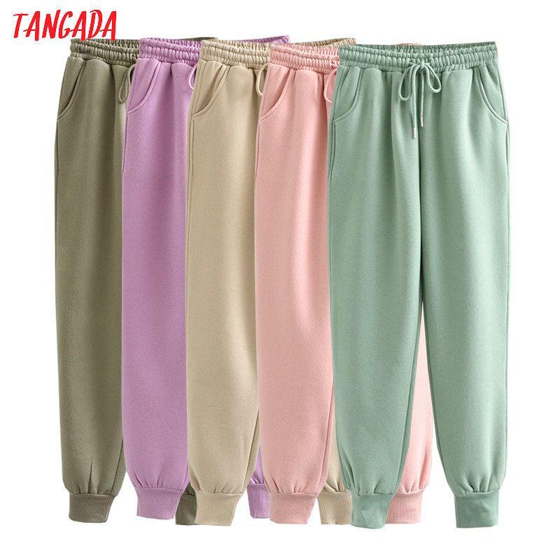 Tangada Otoño Invierno Mujeres gruesa lana 100% de algodón pantalones largos cálidos pantalones de cintura alta calidad grande strethy 6L16 201105