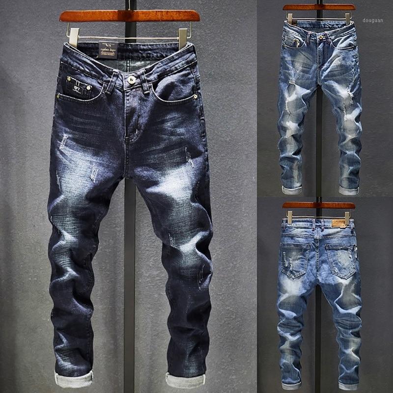 2020 Herren Jeans Löcher ausgefranst Hiphop zerrissene blaue dünne dünne dicke slim bein streegwear verzweifelt moto biker jeans männliche Denim Pants1