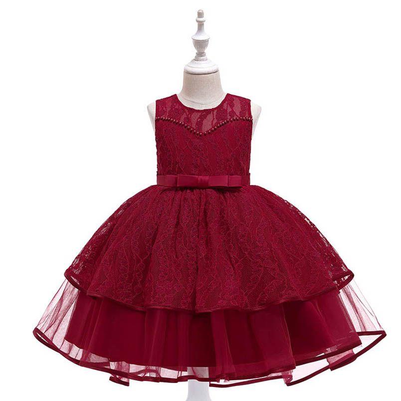 2020 Nueva vestido de la princesa pettiskirt de la muchacha muchachas del cordón vestidos de fiesta vestidos formales de la moda vestido de tutú muchachas del adolescente ropa B2693