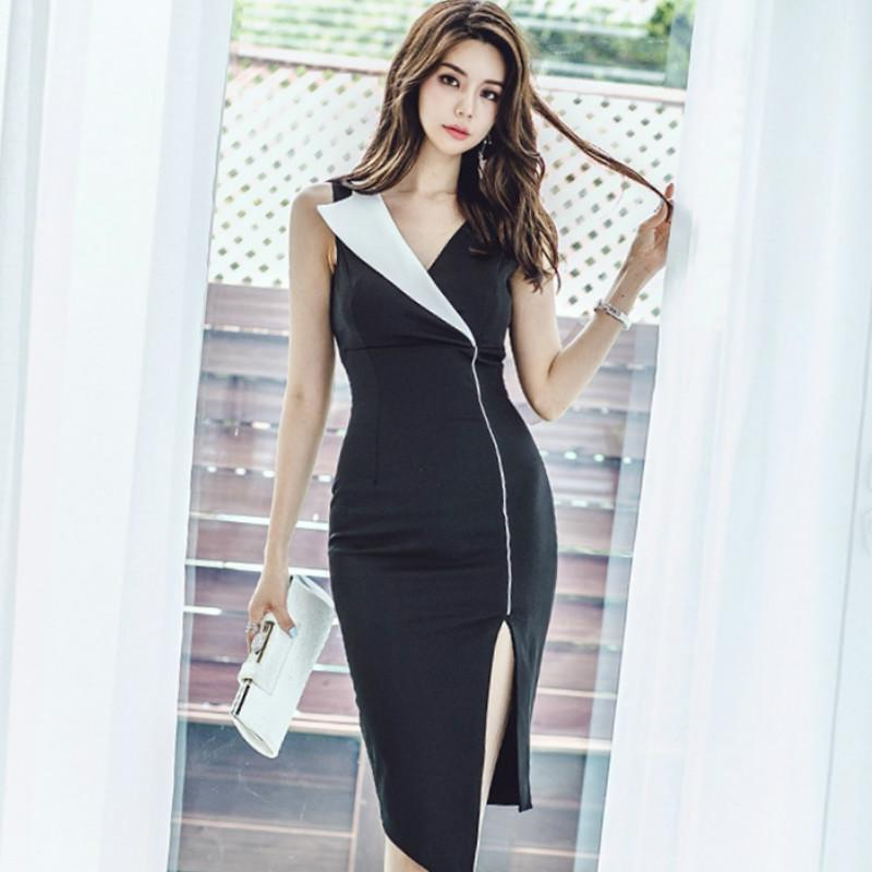 Yaz Kolsuz Siyah Çentikli Ofis Lady Bezi Kılıf BODYCON Düzensiz Diz Boyu Seksi Çalışma Elbise