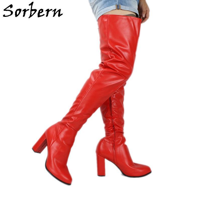 Sorbern Große Größe Runde TOE Unisex Stiefel Block Ferse Lange Frauen Boot Side Reißverschluss Benutzerdefinierte Slim Fit Crossdresser Chunky High Heel