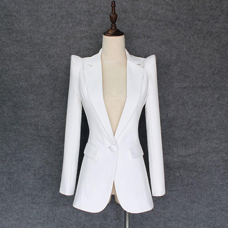 Высокое качество Новый модный дизайнер Blazer Куртка Женская парящая плечи Одиночная кнопка Blazer Внешний износ 201023