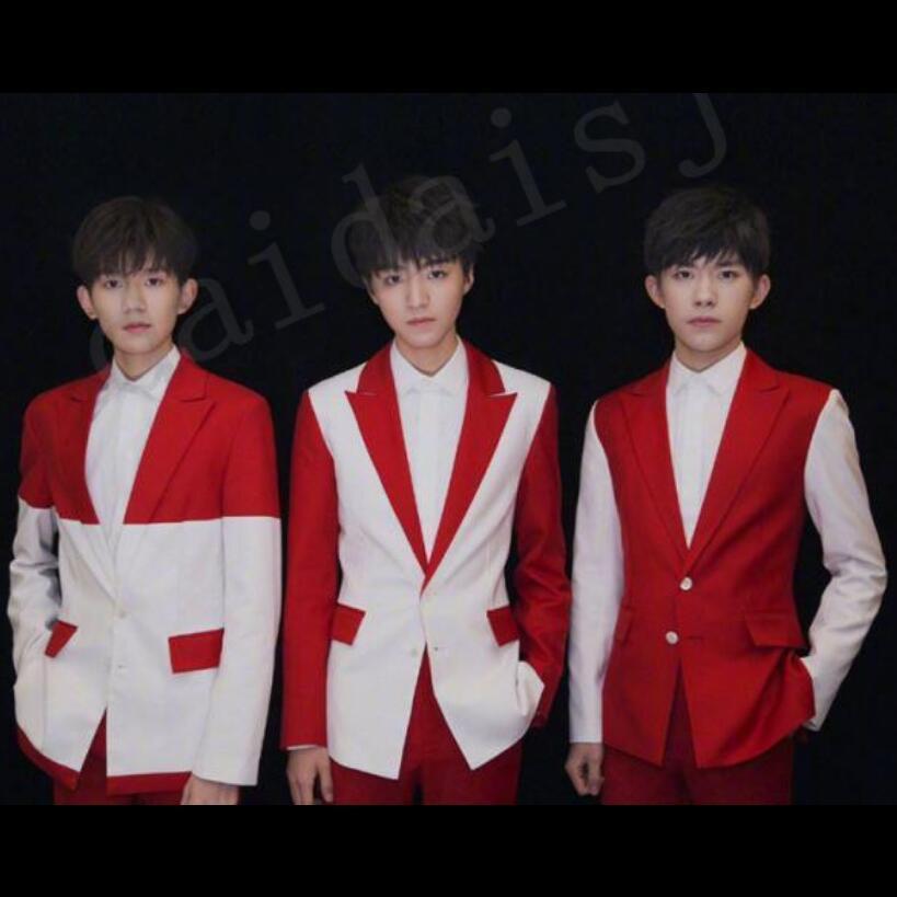 2020 Новый сценический красный и белый Splice костюмы куртки клуб бар мужчина пение платье 6xe4