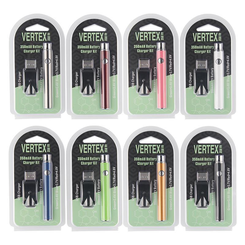 100% Quality Vertex LO VV Preheating Battery Charger Kit 350mAh Preheat Battery Voltage adjustable Pre heat 510 thread Battery