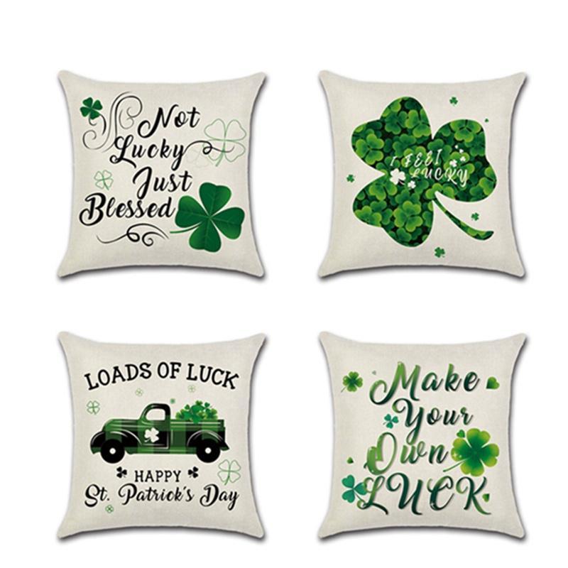 День Святого Патрика Льняные наволочки Зеленые Lucky Clover Диван для дивана для машины Наволочка наволочка Корпус Корпус Корпус с фестивалем на молнии