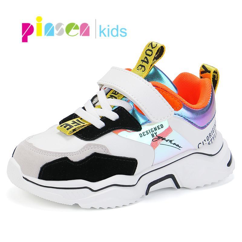 PINSEN 2020 Весна Спорт Девушки кроссовки мальчиков Мода Удобная повседневная Дети Для девочек обувь 1007