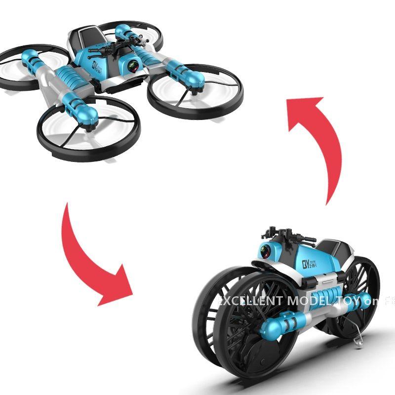 2 in einer fernbedienung transformble quadcopter motorrad spielzeug, wifi fpv flugzeuge, höhe halten drohne 360 ° flip, für weihnachtskind junge geschenk, 3-1