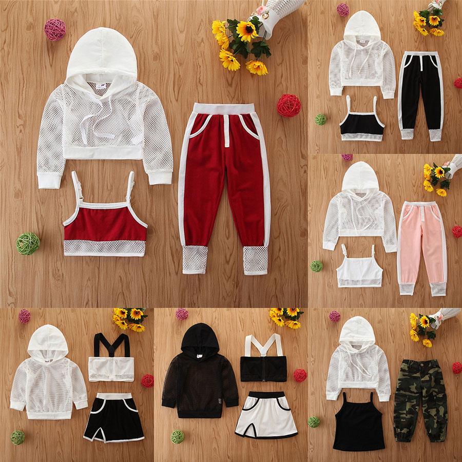 Çocuklar Tasarımcı Giysi Kız Açık Spor Kıyafetler Çocuk Örgü Kapşonlu Üst + Yelek + Pantolon 3 adet / takım Yaz Spor Bebek Giyim Setleri M1475