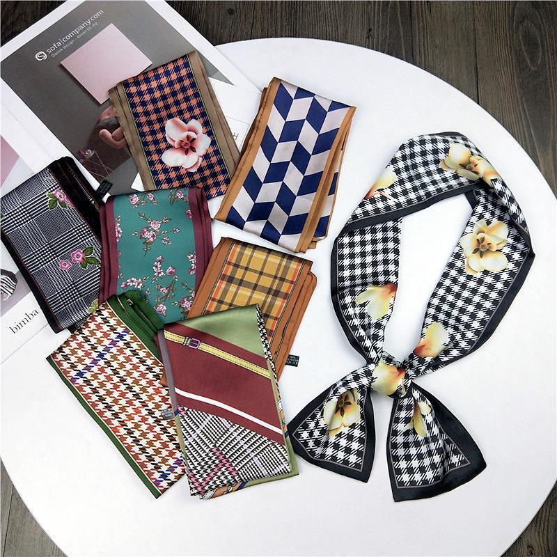 Flor de moda boxeador de doble cara bufanda larga bufanda de seda Versión coreana de la primavera y otoño All-Match Band Streamer