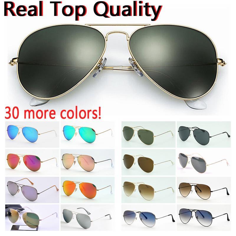 Lentes de sol superiores de aviación calidad de las gafas de sol piloto para mujeres de los hombres con la caja de negro o marrón de cuero, tela y accesorios venta al por menor!