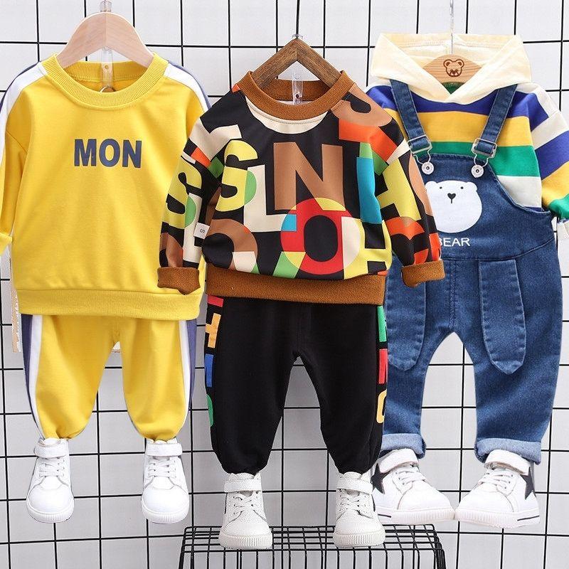 Outono primavera menina bebê roupas de algodão com capuz moletom suspender listrado listrado de manga longa tracksuit bebê vestuário conjunto 20117