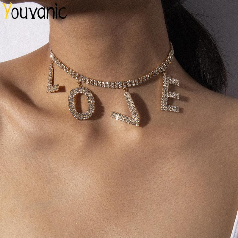 Youvanic Luxury CZ Кристалл Love Letter Choker ожерелье для женщин Заявление Теннис цепи Rhinestone Свадебные украшения Воротник 2609