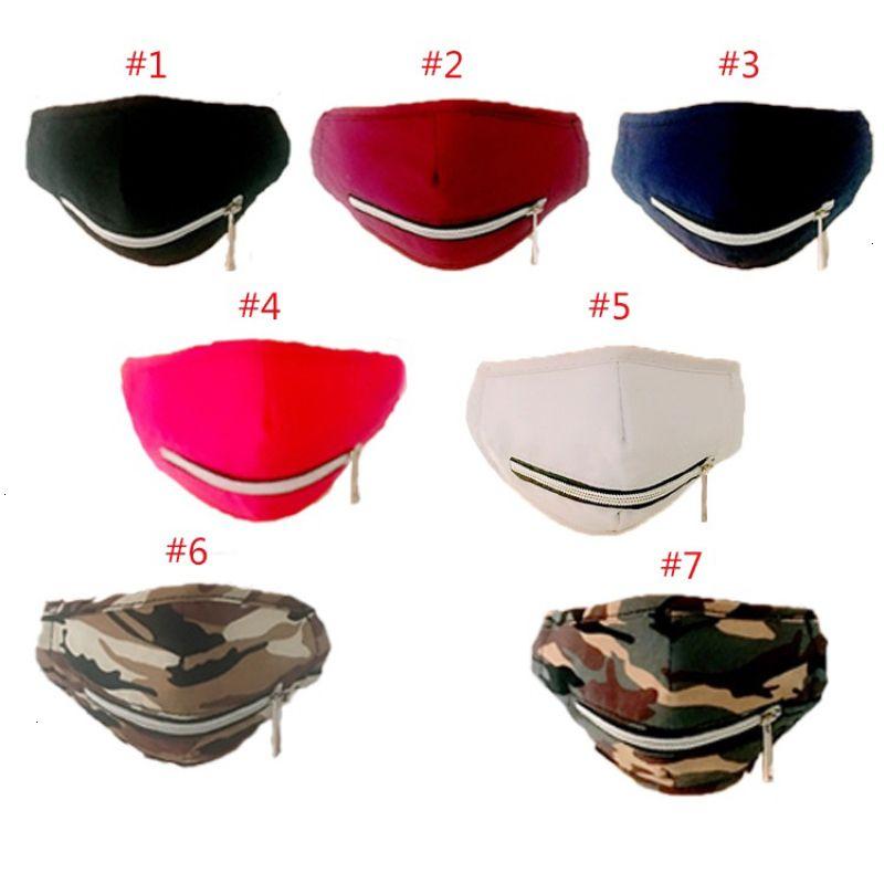 Fermeture à glissière de protection du visage Designer Ajuster coton lavable mode Masque bouche pour de camouflage extérieur Protection contre le soleil Hh9-3180