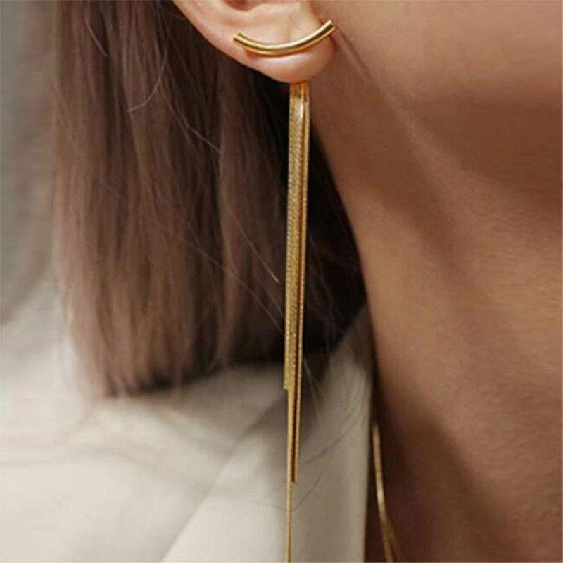 Старинные позолоченные многоквартирные серьги на цепь змеи длинняя для женщин Геометрия Серьез Серьги Ювелирные изделия