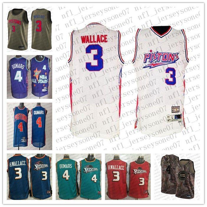 Özel Erkek Bayan Gençlik DetroitPistonlar3 Ben Wallace # 4 Joe Dumars Mavi Gerileme Dikişli Basketbol Forması