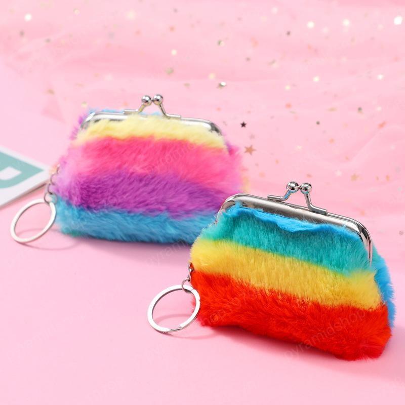 arc-en-enfants en peluche Porte-monnaie 3 pouces Cartoons Kids boucle sac Coin 2 couleurs sac bébé Shell Wallet
